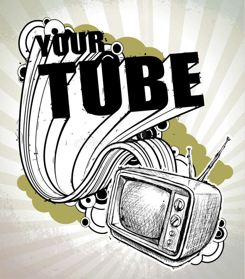 Free Hand-drawn Poster With Retro TV Set Stock Photography - 22003732
