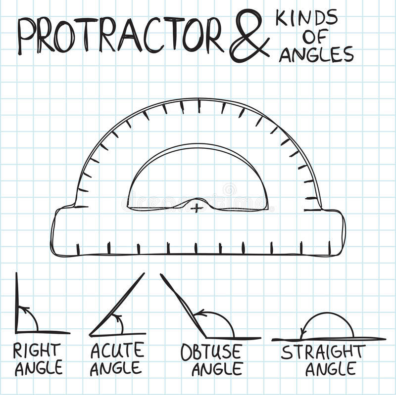 Hand-drawn protractor and angles. Vector vector illustration