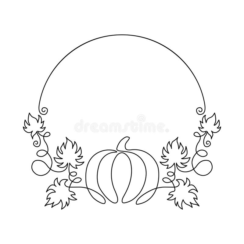 Hand drawn pumpkin round frame. One line harvest. One line harvest. Autumn nature vector sketch. Hand drawn pumpkin with leaves isolated on white background royalty free illustration
