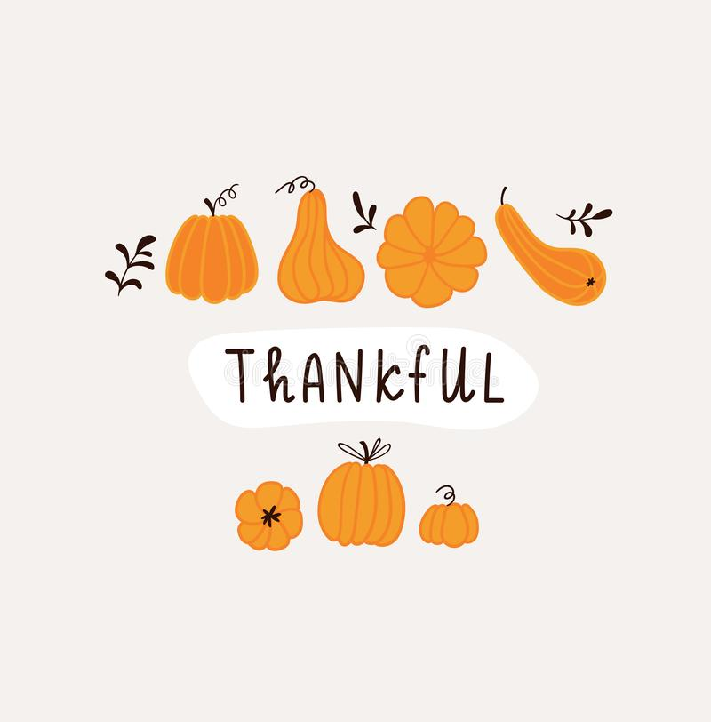 Hand drawn pumpkins and leaves. Cute card design for Halloween or Thankful day. Vector thanksgiving illustration vector illustration