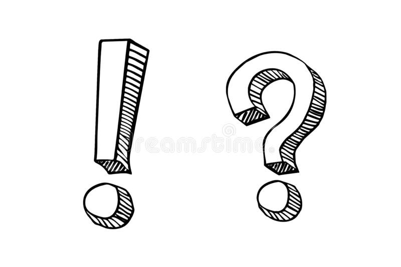 Hand drawn question mark and exclamation point. doodle , sketch style. Illustration  design stock photos