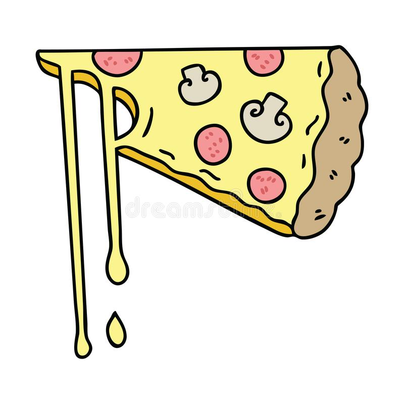hand drawn quirky cartoon cheesy pizza stock illustration