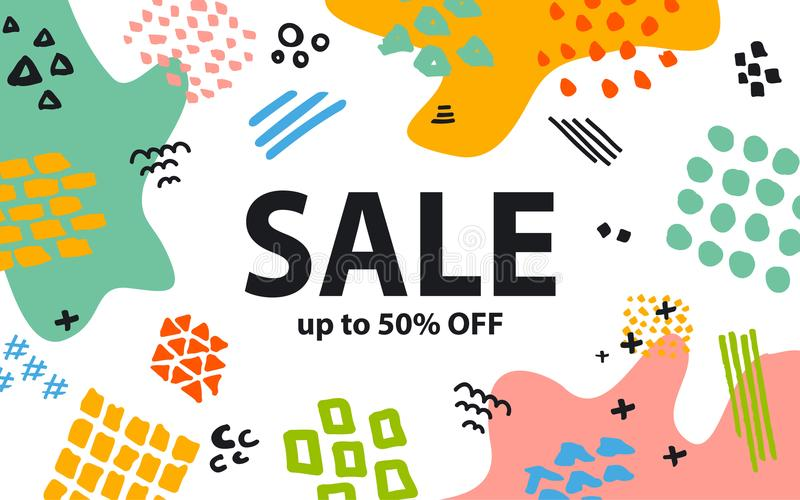 Hand drawn quirky marker pen strokes and geometric shapes doodles textures colorful sale banner vector illustration