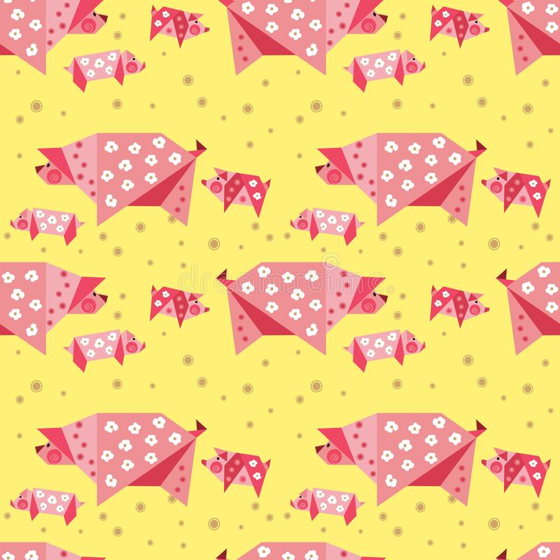 Hand drawn quirky piggy seamless pattern. Hand drawn quirky piggy family seamless pattern. Farm animals fun childlike design. Cartoon pig with small baby pigs vector illustration