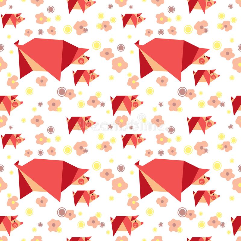 Hand drawn quirky pigs pattern royalty free illustration