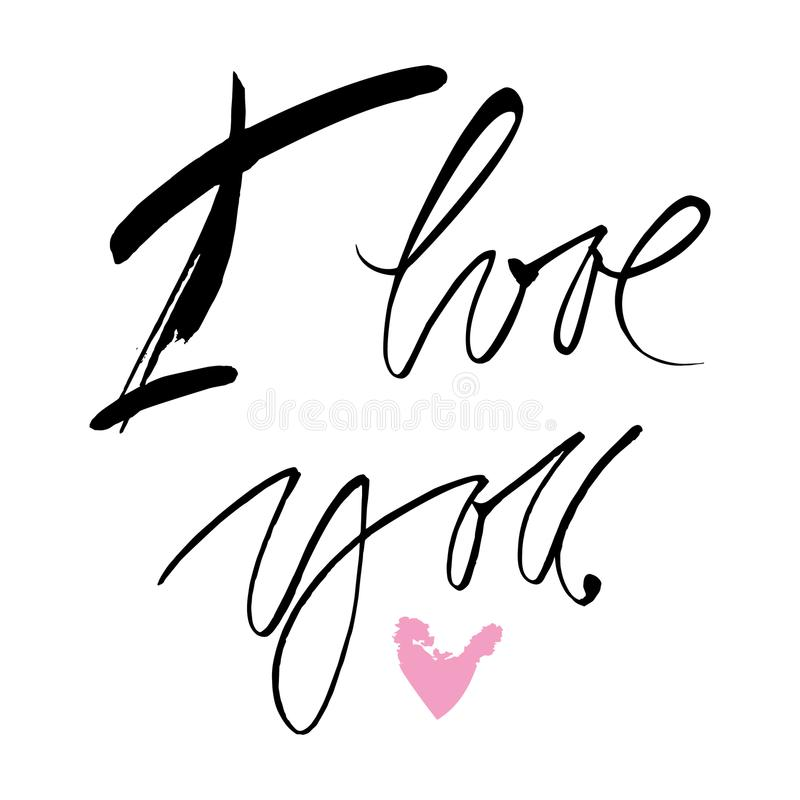 Hand drawn quote `I love you` stock images