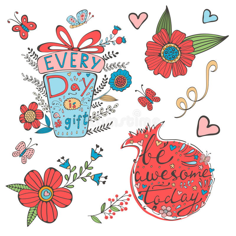 Hand drawn quote lettering set. Illustration in. Every day is a gift and Be awesome today. Hand drawn quote lettering set. Illustration in vector format royalty free illustration