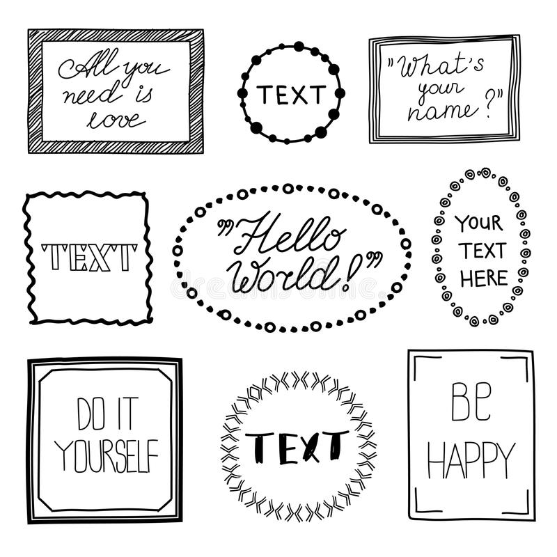 Hand drawn quote vintage vector frames. royalty free illustration