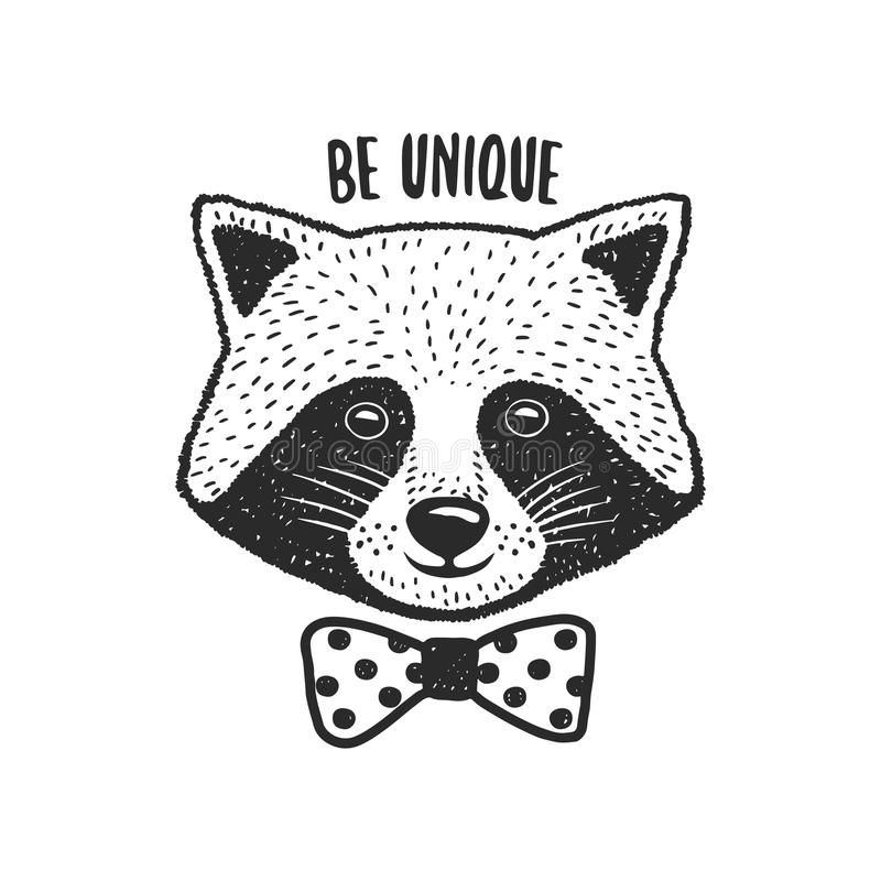 Download Hand Drawn Raccoon Print. Be Unique Quote. Vector Vintage Illustration. Stock Vector - Image: 83717457