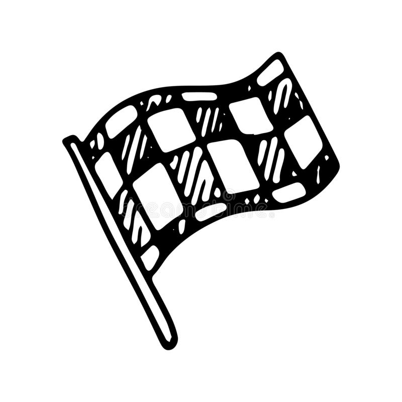 Hand drawn race flag doodle icon. Hand drawn black sketch. Sign vector illustration