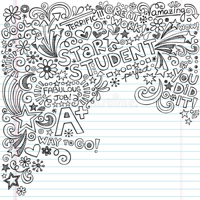 De Grote Rangen A van de Student van de ster plus Met inkt besmeurd Notitieboekje Doo vector illustratie