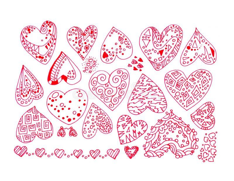 Hand-drawn rassenbarrièresreeks rode ingewikkelde abstracte stickers van liefdeharten met ornamenten die op witte achtergrond wo stock illustratie