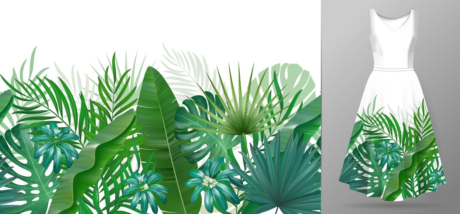 Hand drawn realistic branches and leaves of tropical plants. Vivid line horizontal leaves pattern. Green seamless border royalty free illustration