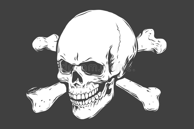 Hand drawn realistic human skull and bones. Monochrome vector illustration on black background. royalty free illustration