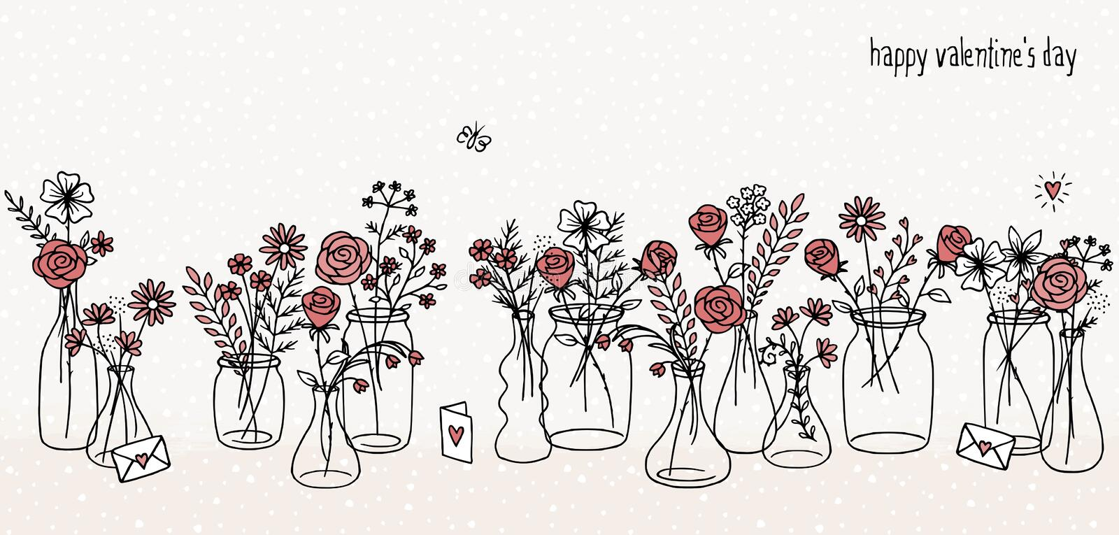 Hand drawn red flower bouquets vector illustration