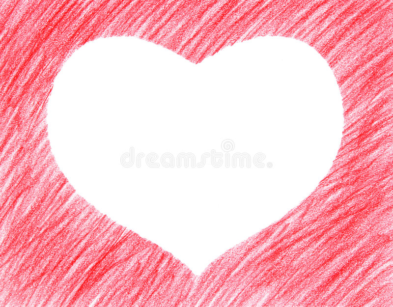 Hand-drawn red heart shape. Hand-drawn crayon red heart shape, isolated on white royalty free stock photo
