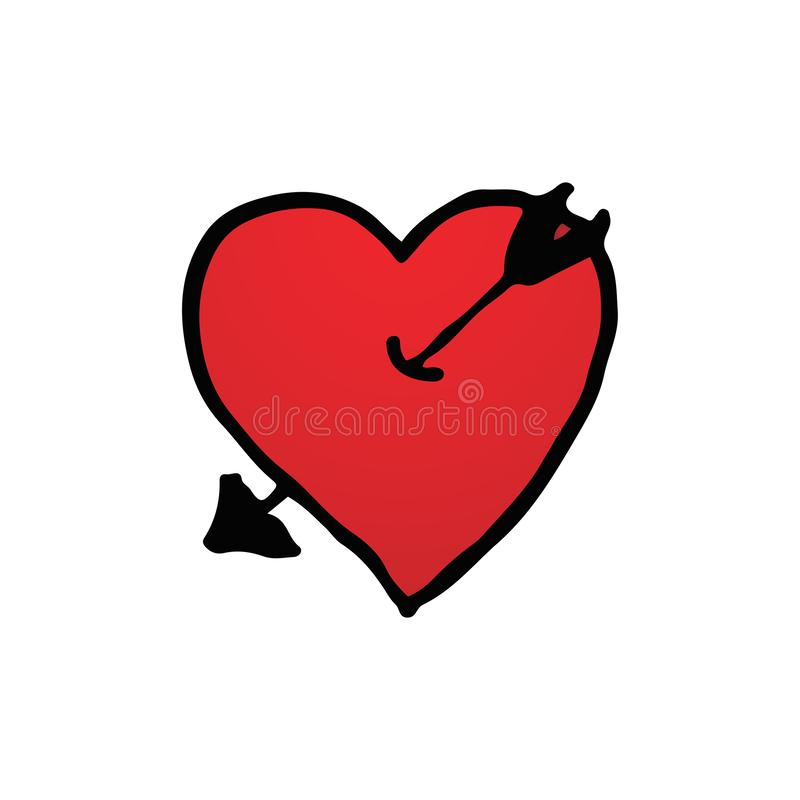 Hand drawn of red heart symbol with arrow logo in isolated white background.  Valentines day and Romantic honeymoon concept. Red. Heart shape sign theme royalty free illustration
