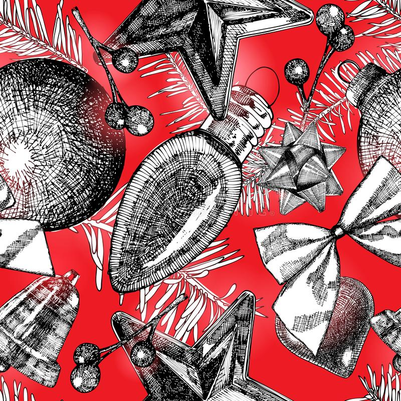 Hand drawn red seamless pattern with Christmas elements. Xmas an vector illustration