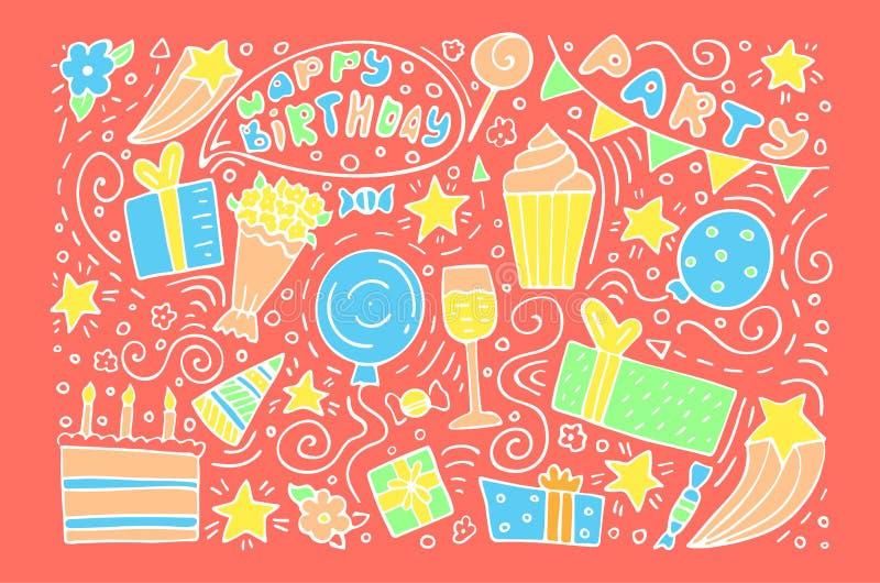 Hand-drawn reeks krabbels van de Verjaardagsinkt De gelukkige kaart van de verjaardagsgroet leef koraalachtergrond royalty-vrije illustratie