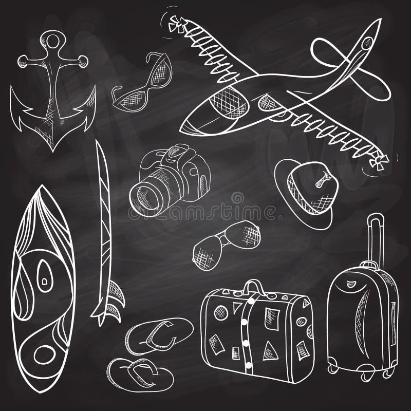 Hand-drawn reeks van de pictogrammenzomer, vakantie, schoolraad stock illustratie
