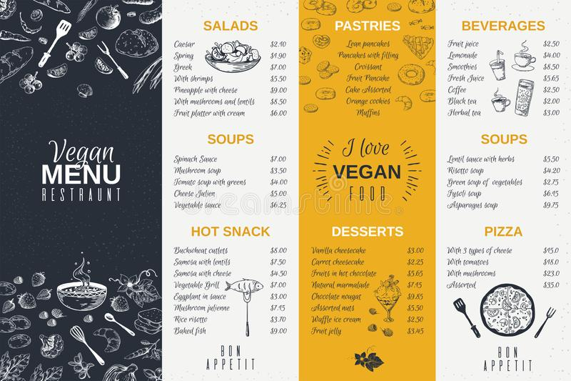 Hand drawn restaurant menu. Food cooking vintage template, doodle breakfast and diner cafe flyer. Vector menu card royalty free illustration