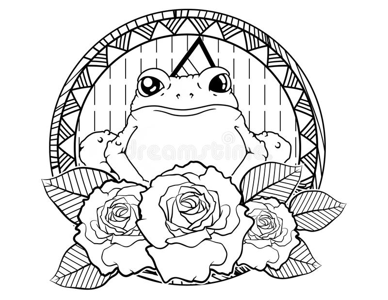Frog tattoo sketch with roses and leafes vintage neo traditional tattoo sketch. Hand drawn retro animal tattoo sketch with roses in vintage style. ornate stock illustration