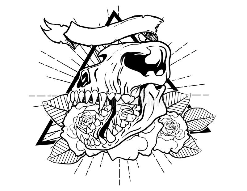 Tiger bones vintage neo traditional tattoo sketch. Hand drawn retro animal tattoo sketch with roses in vintage style. ornate romantic tattoo design element vector illustration