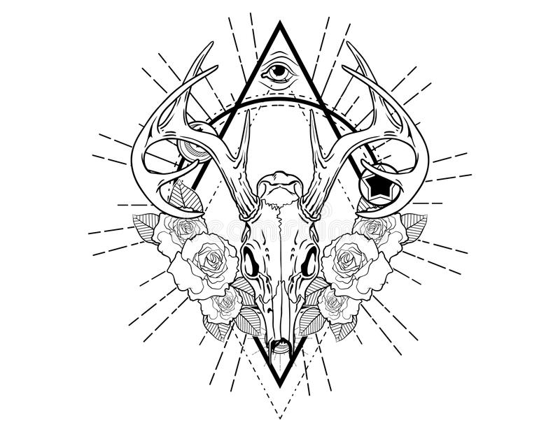 Deer skull tattoo sketch with roses vintage neo traditional tattoo sketch. Hand drawn retro animal tattoo sketch with roses in vintage style. ornate romantic stock illustration