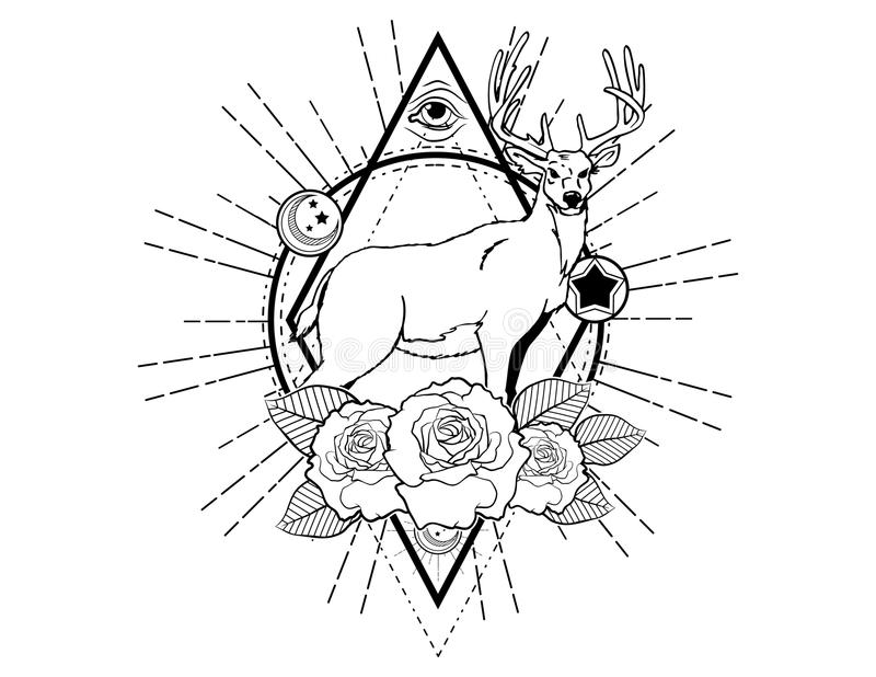 Deer tattoo sketch with roses vintage neo traditional tattoo sketch. Hand drawn retro animal tattoo sketch with roses in vintage style. ornate romantic tattoo royalty free illustration