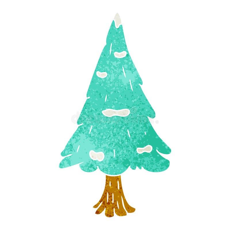 Hand drawn retro cartoon doodle single snow covered tree. A creative retro cartoon doodle single snow covered tree stock illustration
