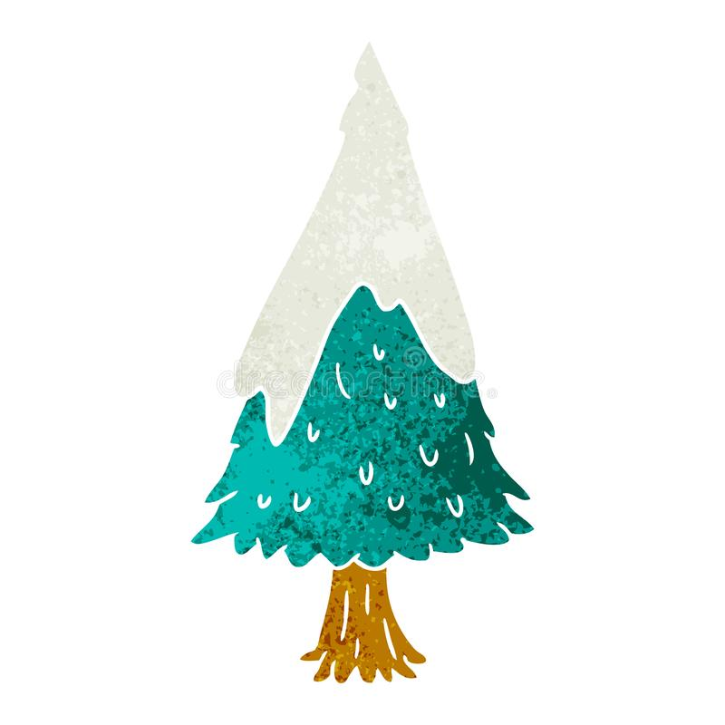 Hand drawn retro cartoon doodle single snow covered tree. A creative retro cartoon doodle single snow covered tree royalty free illustration