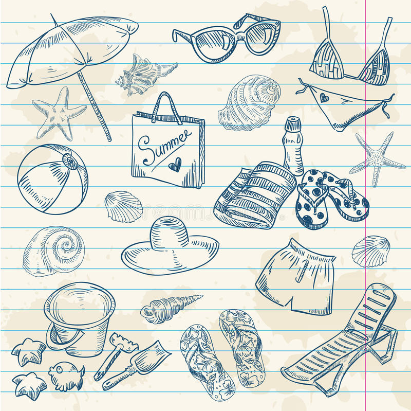 Hand drawn retro icons summer beach set. On a grunge paper background vector illustration
