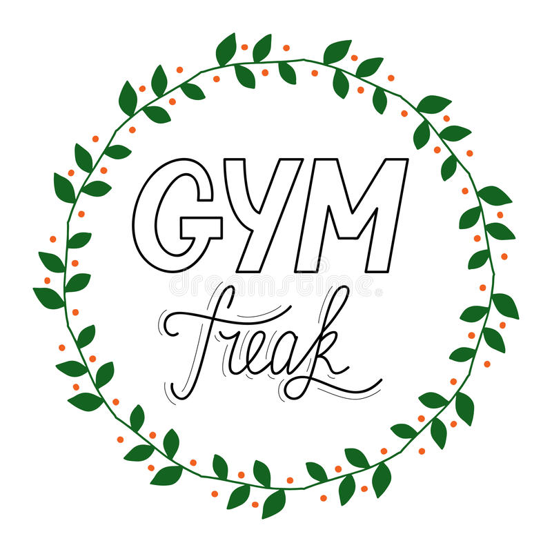 Hand drawn retro lettering Gym Freak stock photo