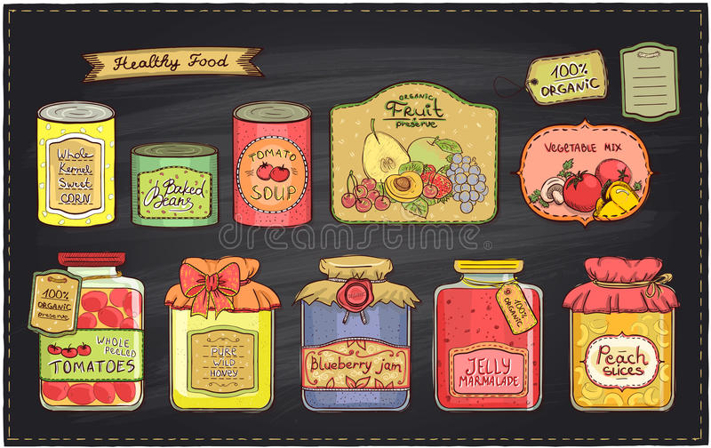Hand drawn retro style illustration with canned goods set and tags on a chalkboard backdrop. Tomato soup, blueberry jam, peach slices, tomatoes, sweet corn stock illustration