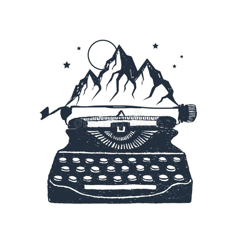 Hand drawn retro typewriter vector illustrations. Hand drawn retro typewriter and mountain peaks textured vector illustrations royalty free illustration