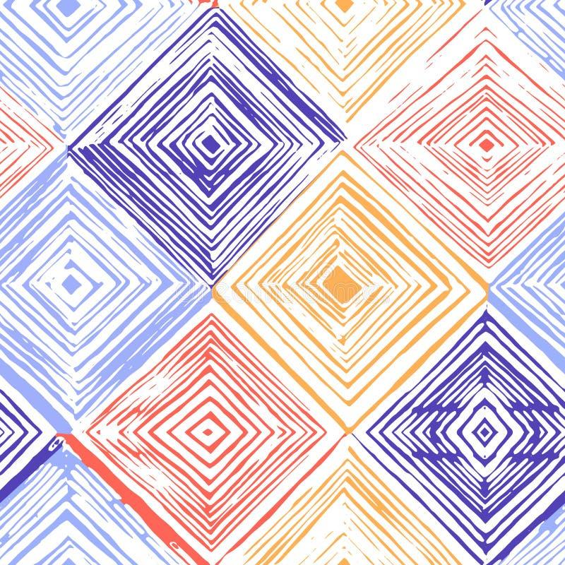 Hand drawn rhombus seamless pattern. royalty free stock photography