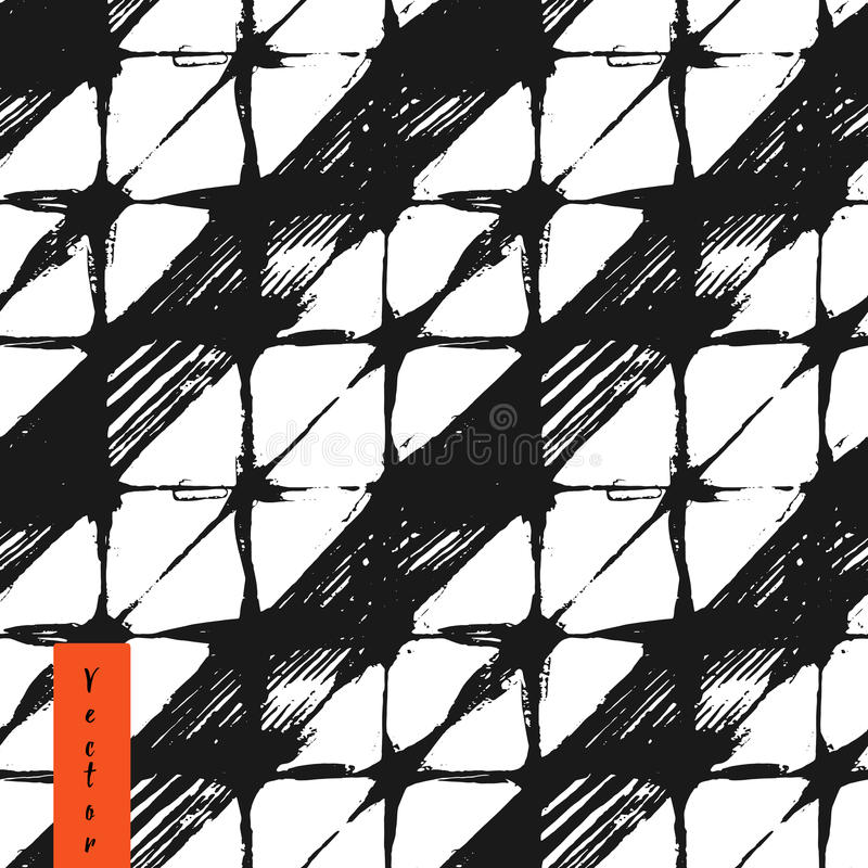 Hand drawn rhombus and stripes seamless pattern. In vector illustration