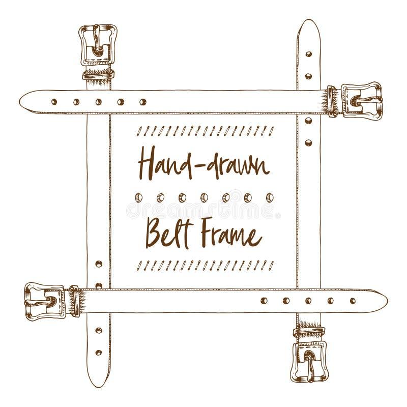 Hand-drawn riemkader in de uitstekende stijl van de gravurekunst die op witte achtergrond wordt geïsoleerd Voor decoratieontwerp, stock illustratie