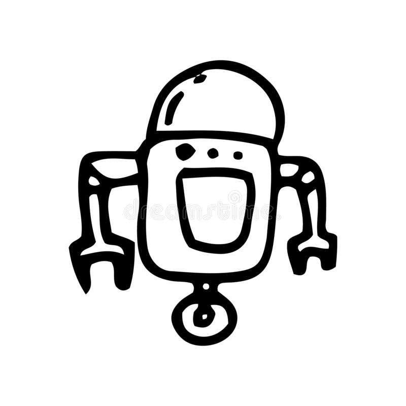 Hand Drawn robot doodle. Sketch style icon. Decoration element. Isolated on white background. Flat design. Vector illustration stock illustration