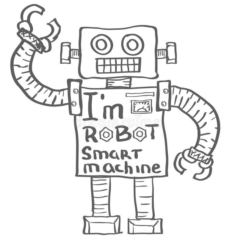 Hand drawn Robot on White background Vector. Illustration vector illustration