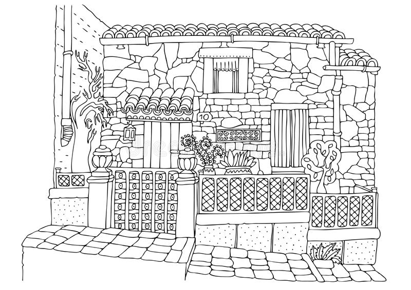 Hand drawn romantic house from mediterranean coast. Sketch for anti-stress adult coloring book in zen-tangle style. Vector illustration for coloring page royalty free illustration