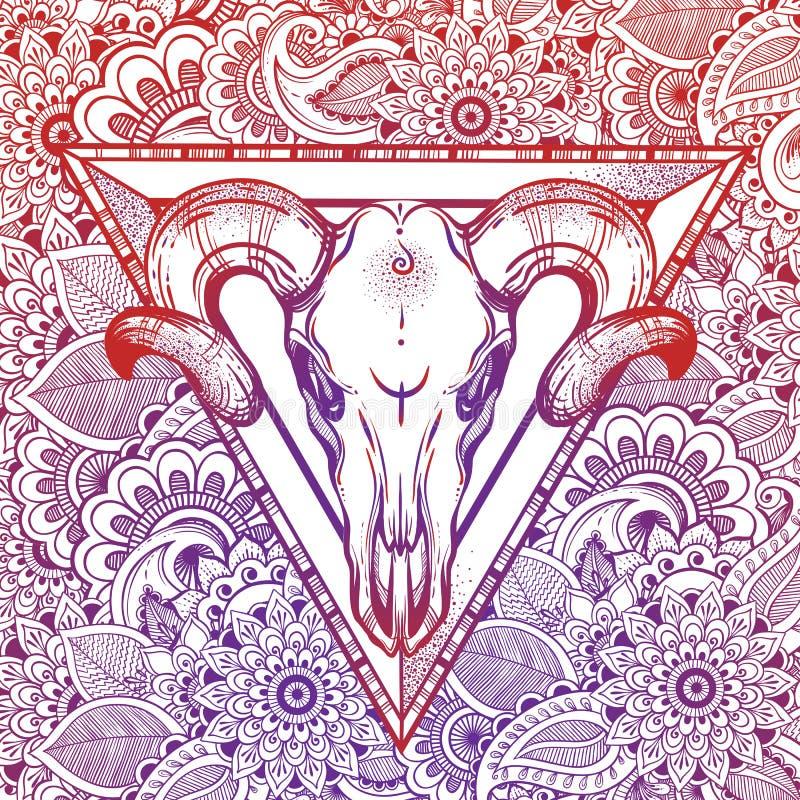 Hand drawn romatice tattoo style decorative buffalo skull. Boho style vector illustration. Zentangle meditation floral background. Tattoo, travel, adventure royalty free illustration