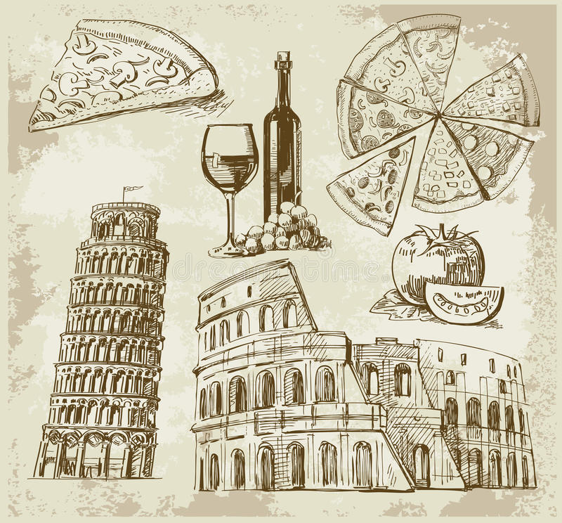Download Hand drawn Rome set stock vector. Image of roma, building - 23934583