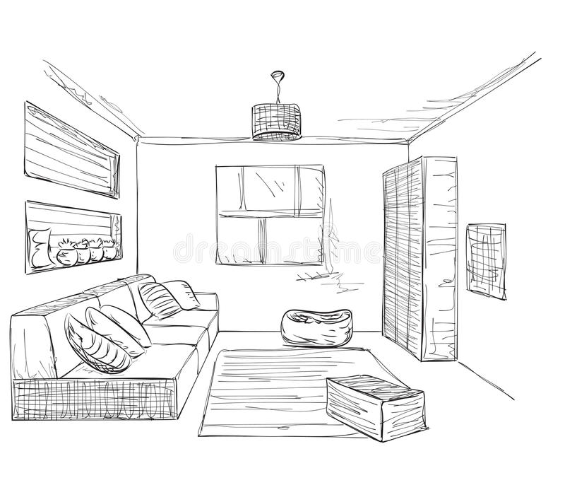 Hand Drawn Room Interior. Furniture Sketch. Stock Vector
