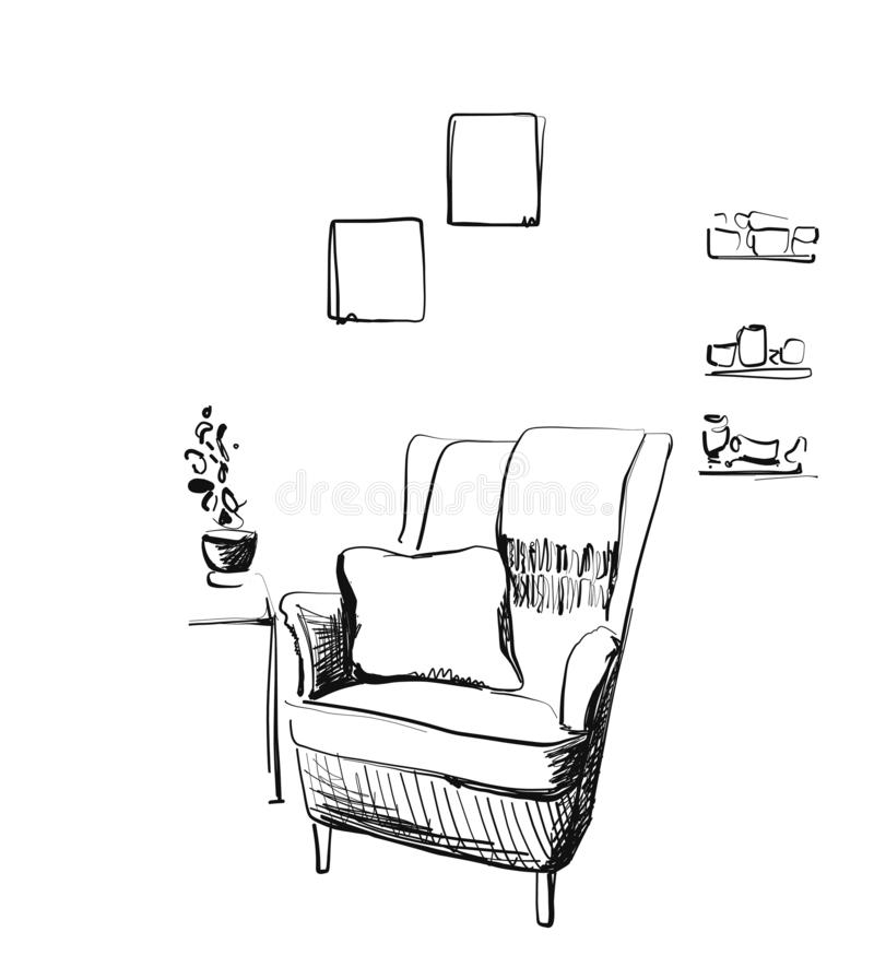 Hand drawn room interior. Reading place sketch. Chair stock photo