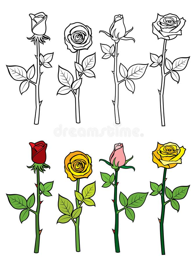 hand drawn rose coloring page hand drawn rose coloring page colorful outline roses set vector illustration