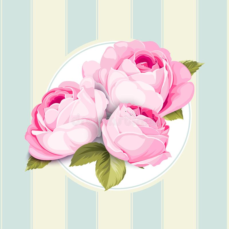 Hand drawn rose. Isolated over blue tile background. Label with blooming flowers. Vector illustration vector illustration