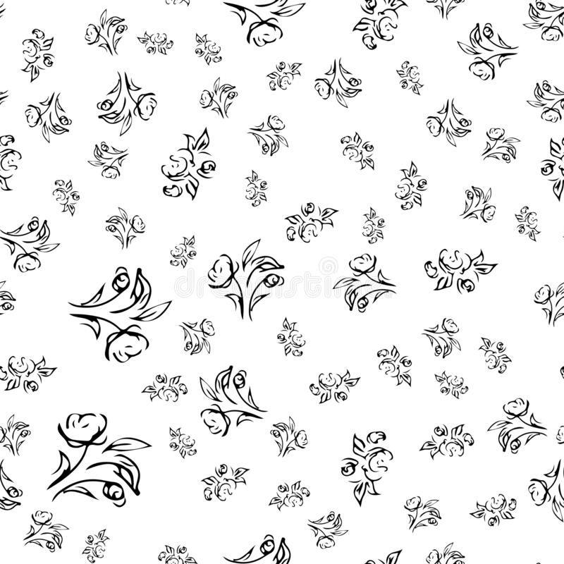 Hand drawn rose seamless pattern for print design. Rose floral seamless pattern. Spring textile texture. Repeat design element.  royalty free illustration