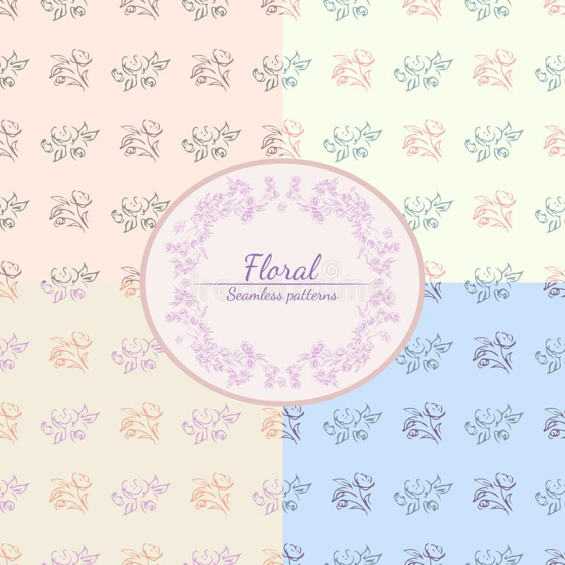Hand drawn rose seamless pattern for print design. Rose floral seamless pattern. Spring textile texture. Repeat design element.  stock illustration