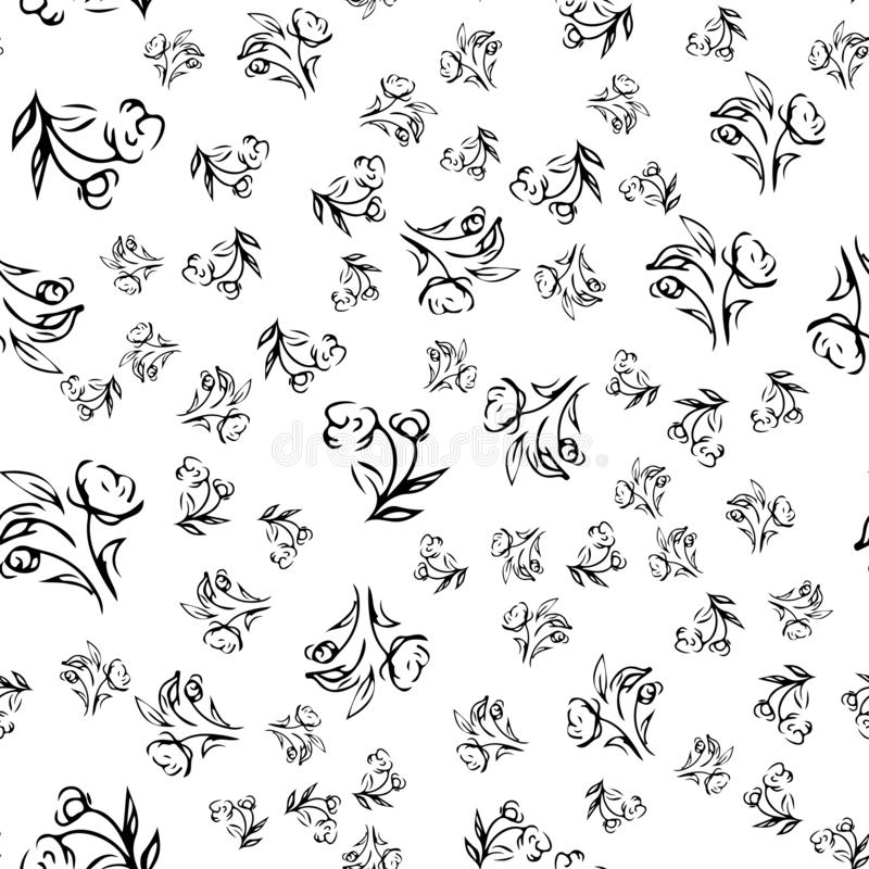 Hand drawn rose seamless pattern for print design. Rose floral seamless pattern. Spring textile texture. Repeat design element.  vector illustration